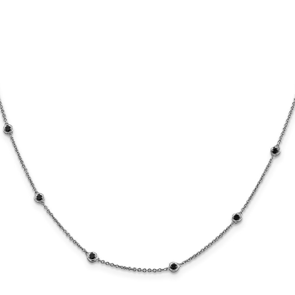 Top 10 Jewelry Gift 14K White Gold Polished Black Diamond Necklace