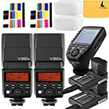 Godox V350S TTL 2.4G 2X Camera Flash with Built-in Rechargeable 7.2V/2000mAh Li-ion Battery,Godox Xpro-s Flash Trigger for For Sony Camera