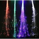 "10-pack Light-up Fiber Optic Led Hair Lights (14"" Strands) - Multi - Color Flashing Rainbow Barette - Rave Party Hair Accessories"