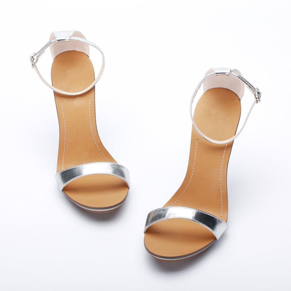 OCHENTA Sandali Stiletto Estivi con Cinturino alla Caviglia Chiusura Fibbia per Donna