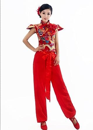 48d79b672 Amazon.com  Chinese Folk Dance Costume Traditional Fashion Clothing ...