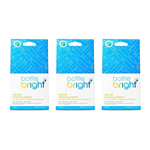 BOTTLE BRIGHT 3 Pack (36 Tablets) - All Natural, Biodegradable, Chlorine & Odor Free Water Bottle, Blue