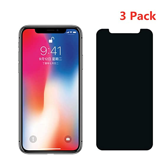 premium selection b8fad 77945 Amazon.com: [3 Pack] Privacy Tempered Glass for iPhone Xs Max Screen ...