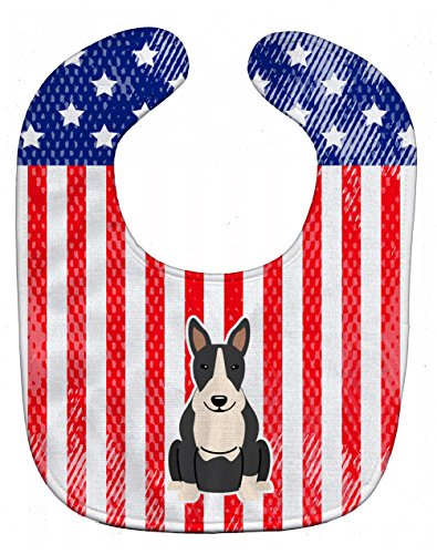 Caroline's Treasures Patriotic USA Baby Bib, Bull Terrier Black White, Large
