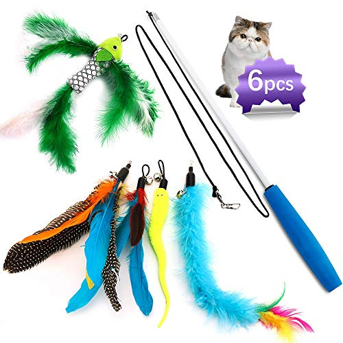 Cat Feather Toys,Cat Feather Wand,Interactive Cat Toys Retractable Wand,Kitten Toys,1 PCS Yellow Caterpillar Toy,4 PCS Replacement Natural Feathers Refill,1 PCS Carbon Fiber Telescopic Cat Teaser Wand ()