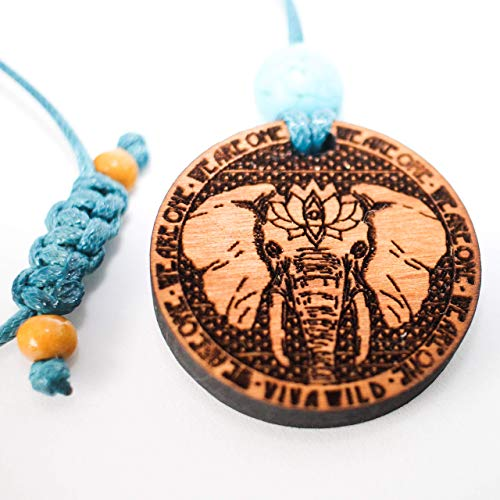 Power Elephant Spirit Animal Pendant with Third Eye Lotus, moon phases and affirmation