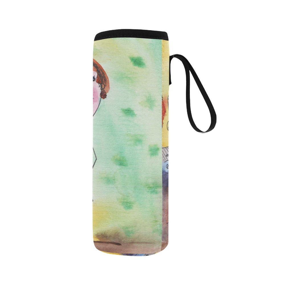 Silly Meow Cute Girl Cooking In The Kitchen Custom 2.75 Oz Neoprene Water Bottle Sleeve (Large Size)