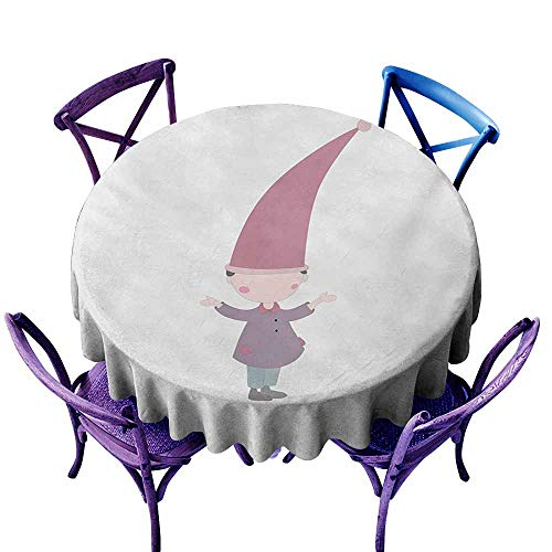 Indoor/Outdoor Round Tablecloth,Kids Little Cartoon Gnome Character Illustration with a Big Pink Hat Standing Under Rain,Modern Minimalist,50 INCH,Multicolor