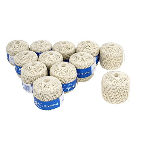 DealMux Cotton Packaging Tags Label Binding Sewing Twine 99M Long 12PCS Beige