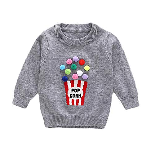 Baby Kid Top Sweater,Fineser Toddler Baby Boys Girls Kid Long Sleeves POP Corn Letter Print Sweater Sweatshirt Blouse Tops (Gray, 24M(90)) for $<!--$9.58-->