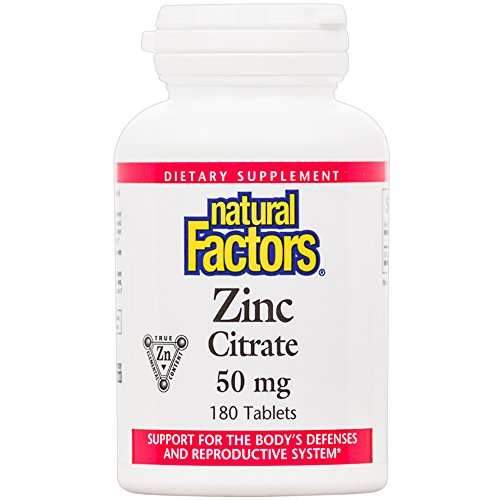 Zinc Citrate (Natural Factors - Zinc Citrate 50mg, Support for Healthy Skin & Immune Function, 180 Tablets)