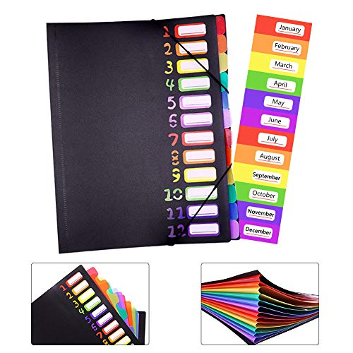 Expanding File Organizer 12 Pockets, Accordion Folders A4 Letter Size Hold 120 Sheets, Assorted with Rainbow, Designed for Home, Office and School