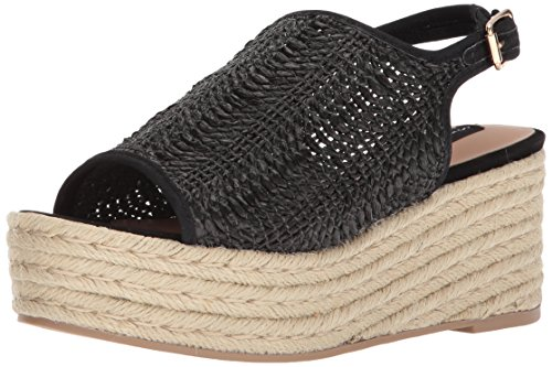 STEVEN by Steve Madden Women's Courage Wedge Sandal, Black Suede, 8.5 M US