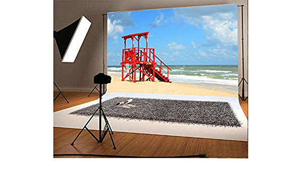 Yeele Beach Backdrops 10x8ft //3 X 2.4M Seaside Lifeguard Blue Water Wave Outdoor Pictures Lovers Adult Artistic Portrait Photoshoot Props Photography Background Video Drape Wallpaper