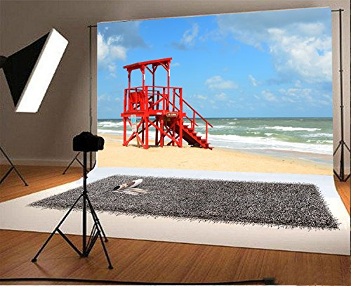 Yeele Beach Backdrops 7x5ft /2.1 X 1.5M Seaside Lifeguard Blue Water Wave Outdoor Pictures Lovers Adult Artistic Portrait Photoshoot Props Photography Background Video Drape Wallpaper