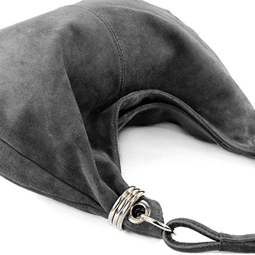 modamoda de - ital. Ledertasche Schultertasche Shopper Damentasche Wildleder Groß T02 Dunkelgrau y5HtWV64K