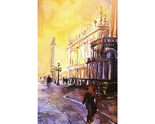 Fine art watercolor painting of the Lion of San Marco statue in Piazza di San Marco at dawn- Venice, Italy (print)