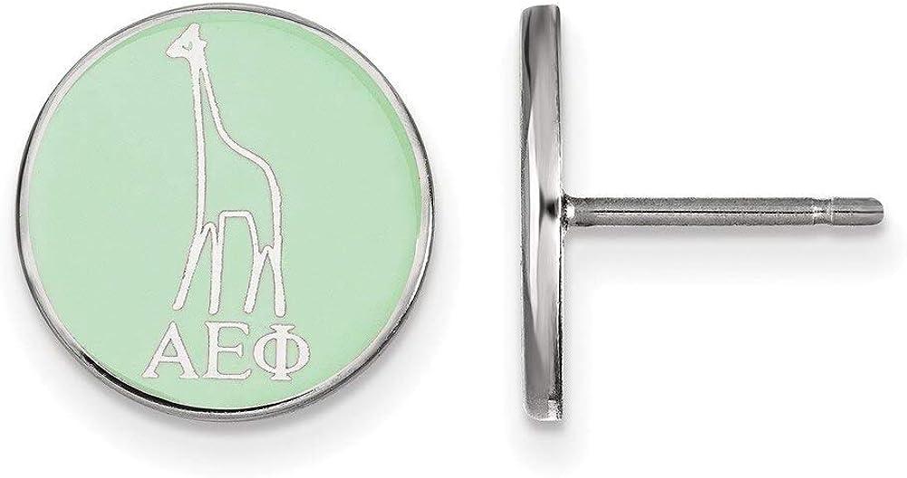 Lex /& Lu LogoArt Sterling Silver Alpha Phi Enameled Black Leather Bracelet