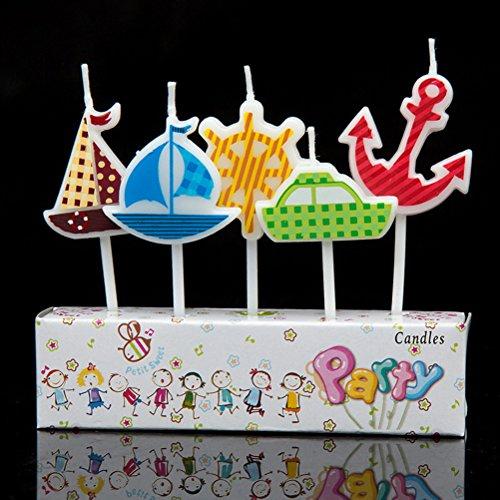 Gâteau d'anniversaire Bougies–nautique Ancre de bateaux de roue