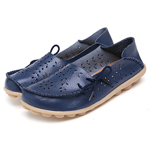 SCIEU Women's Lace Up Leather Loafers Casual Slip-On Driving Moccasins Flats Shoes Dark Blue 2 xDvuX