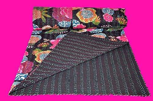 Imperial Art ギャラリー インディアン スロー ベッドカバー ベッドスプレッド カンタキルト キングサイズ カンタキルト スカイブルー カンタブランケット ベッドカバー キングカンタ ベッドスプレッド ボヘミアン 寝具 カンタ インチ IAG-496