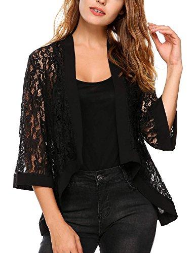ThinIce Womens Fashion 3 4 Sleeve Sheer Lace Crochet Shrug Loose Fit Cardigan