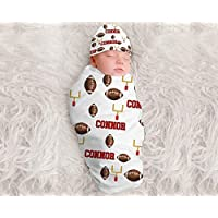 Baby Boy Personalized Football Blanket Personalized Swaddle Blanket Baby Boy Receiving Blanket Monogram Baby Blanket Baby Boys Football Team