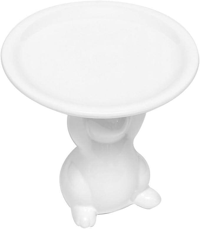 Porcelaine C/éramique Brillibrum Assiette d/écorative Lapin de P/âques en c/éramique Motif Lapin de P/âques Blanc 1 Teller 1 Hase Wei/ß