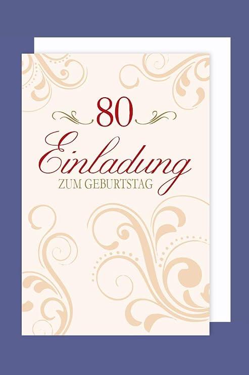 Avancarte Einladungskarte 80 Geburtstag 5er Packung Ornamente Foliendruck 5 Karten 15x11cm