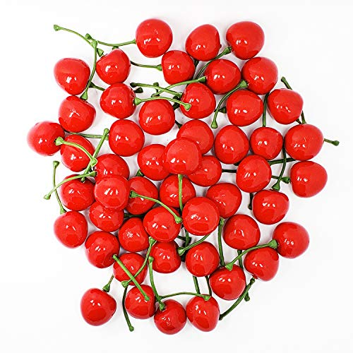 Faux Cherry - WsCrafts 50Pcs Simulation Cherries for Home Kitchen Decoration - Artificial Cherries (25mm, Red)