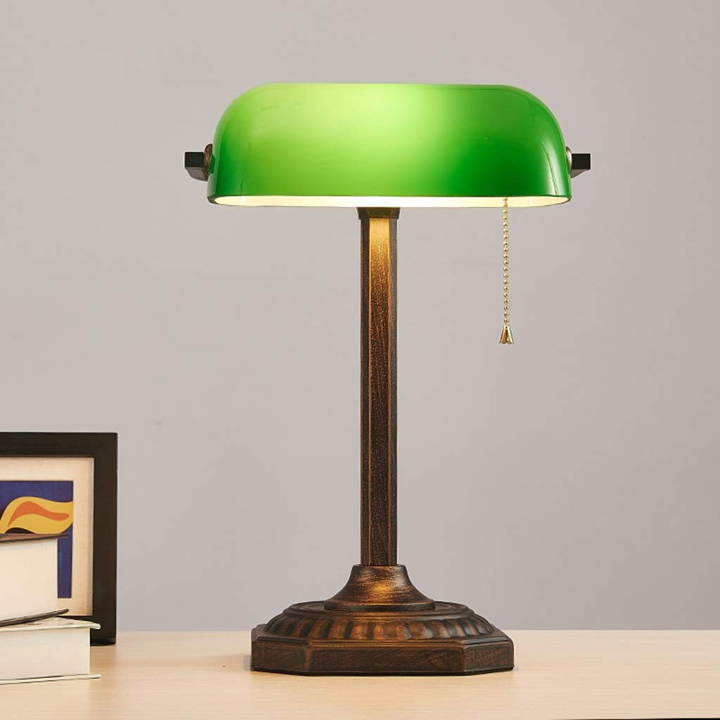 RXY-LAMP American Retro Bank Lamp Republic of China Vintage Retro Vintage Film and Television Props Green Table Lamp