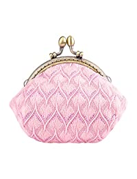 Oyachic Coin Purse Vintage Pouch Buckle Clutch Bag Kiss-lock Change Purse Classic Knitting Clasp Closure Wallets For Women Girl