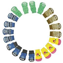 Malloom Random Color 4Pcs Cute Puppy Dogs Pet Knit Socks Anti Slip Bottom Soc...