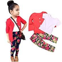 Susenstone Toddler Girls Long Sleeve T-Shirt Tops+Coat+Pants Outfits
