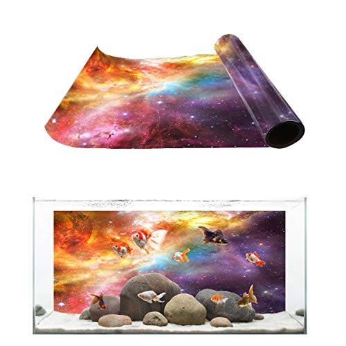 Fantasy Star Aquarium Background So Cool Outer Space Nebula Fish Tank Wallpaper Easy to Apply and Remove PVC Sticker Pictures Poster Background Decoration 12.4