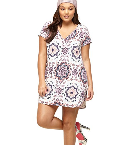 Loralette Women's Medallion T-Shirt Dress, 2X Pink