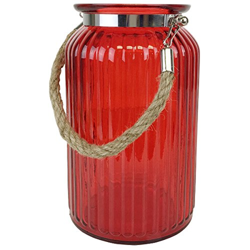 Just Artifacts - 7.5inch Glass Ribbed CylinderVasewith Rope Handle - (Red Cylinder Vases)