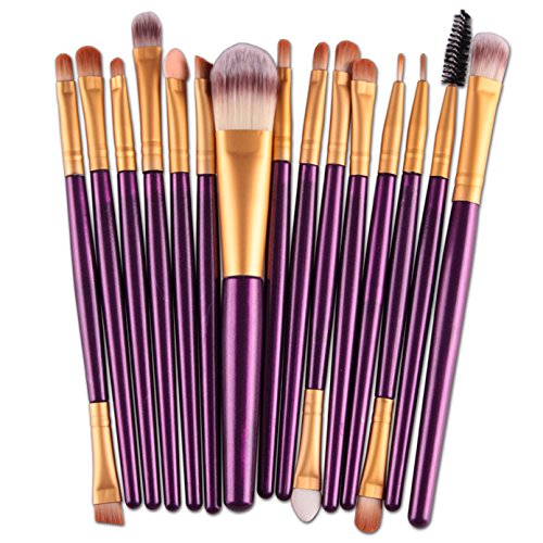 Shusuen ✿‿✿ 15 pcs/Set Practical Cosmetic Eye Shadow Foundation Eyebrow Lip Brush Makeup Brushes Tool ()