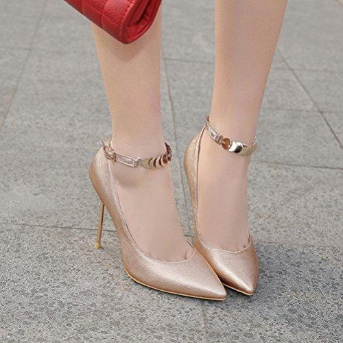 des 34 taille 44 chaussures de avec boucle 33 XIE Mesdames profonde talon peu gold 46 48 45 Fine Overheight simples hauts Grande pointu 47 petite Bouche talons 7ccOWqTR
