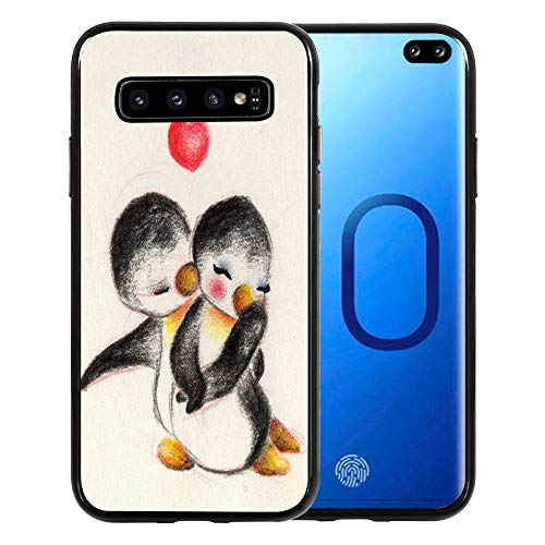 Cover for Samsung Galaxy S10 6.1 inch, TPU Black Case for Samsung Galaxy S10 Case (2019) - Cute Penguin Couples I Love You