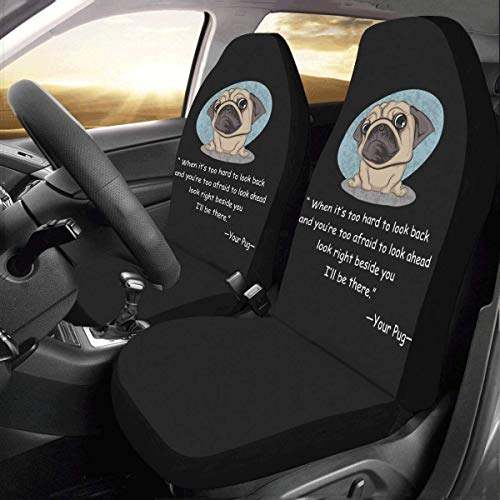 (InterestPrint Front Car Seat Covers 2 pcs Your Pug Vehicle Seat Protector Polyester Cloth Fabric Mat Covers Auto Seat Cushion Universal Fit Most Cars Sedan Truck SUV Van for Women Men)