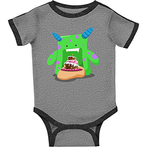 inktastic - Birthday Cake Infant Creeper 6 Months Ringer Heather and Smoke 26b84