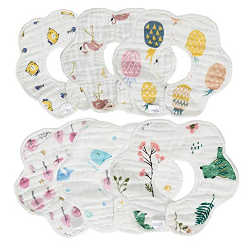 Ohequbao Baby Bib Saliva Towel, 8 Layer Can 360°Rotate Petal Absorption Bandana Bibs Burp Cloths for Drooling And Teething Large