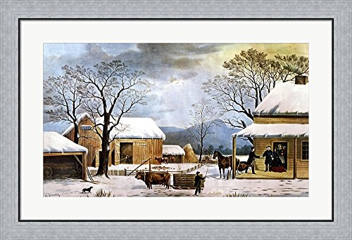y Currier and Ives Framed Art Print Wall Picture, Flat Silver Frame, 35 x 24 inches (Currier & Ives Framed)