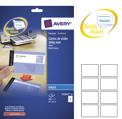 Amazon Com Avery C32015 25 200 White Business Cards With Smooth