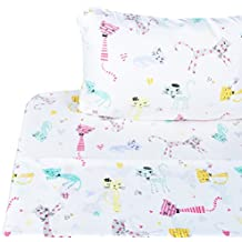 Scientific Sleep Cute Kitty Cats Soft Sheets Set Twin, 100% Microfiber Polyester Bedding Sheet Set for Girls Gift (6, Twin)