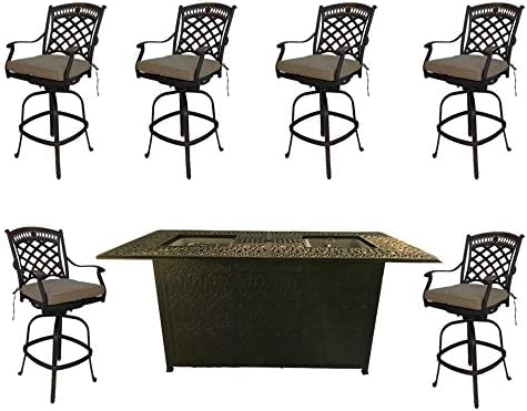Fire Pit Outdoor bar Height Dining 7 Piece Set cast Aluminum Patio Furniture Sunbrella Cushions