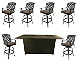 Cheap Propane fire Pit Outdoor bar Height Dining 7 Piece Set cast Aluminum Patio Furniture Sunbrella Cushions