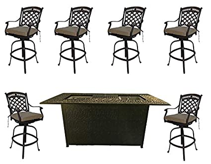 Incredible Fire Pit Outdoor Bar Height Dining 7 Piece Set Cast Aluminum Patio Furniture Sunbrella Cushions Download Free Architecture Designs Scobabritishbridgeorg