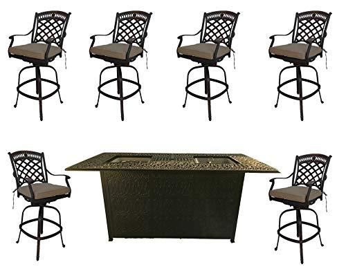 (Fire Pit Outdoor bar Height Dining 7 Piece Set cast Aluminum Patio Furniture Sunbrella)